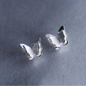 NEW 925 Sterling Silver Butterfly Stud Earrings